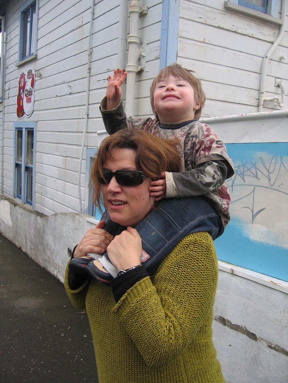 Boy on Woman's Shoulders